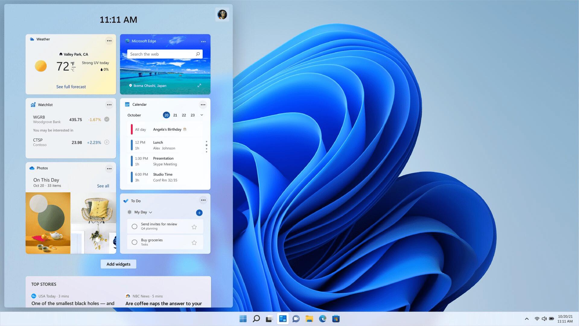 Di Windows 11, widget kalender melakukan pekerjaan ini