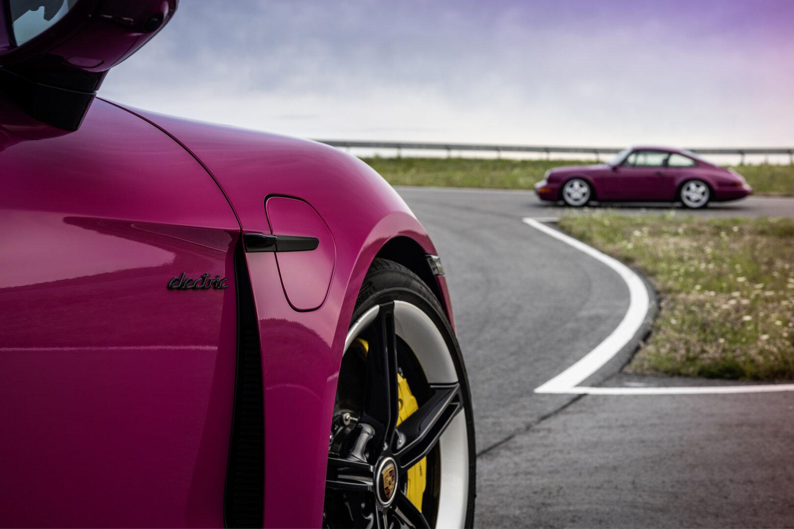 Porsche Taycan en una estrella rubí