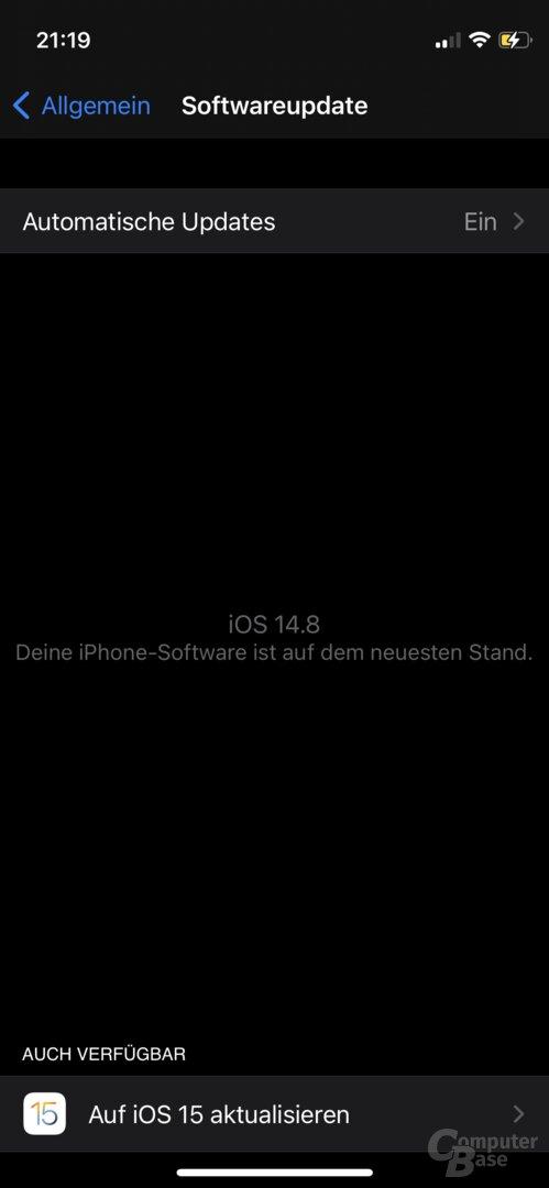 Das Update auf iOS 15 wird vorerst nicht automatisch installiert, sondern optional angeboten