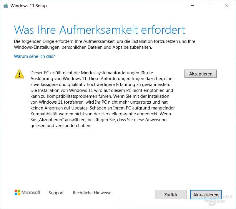Wer Windows 11 auf nicht unterstützten PCs installiert, verliert jeglichen Anspruch gegenüber Microsoft und dem OEM