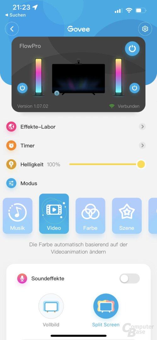 Govee-Home-App mit Flow Pro Light Bar
