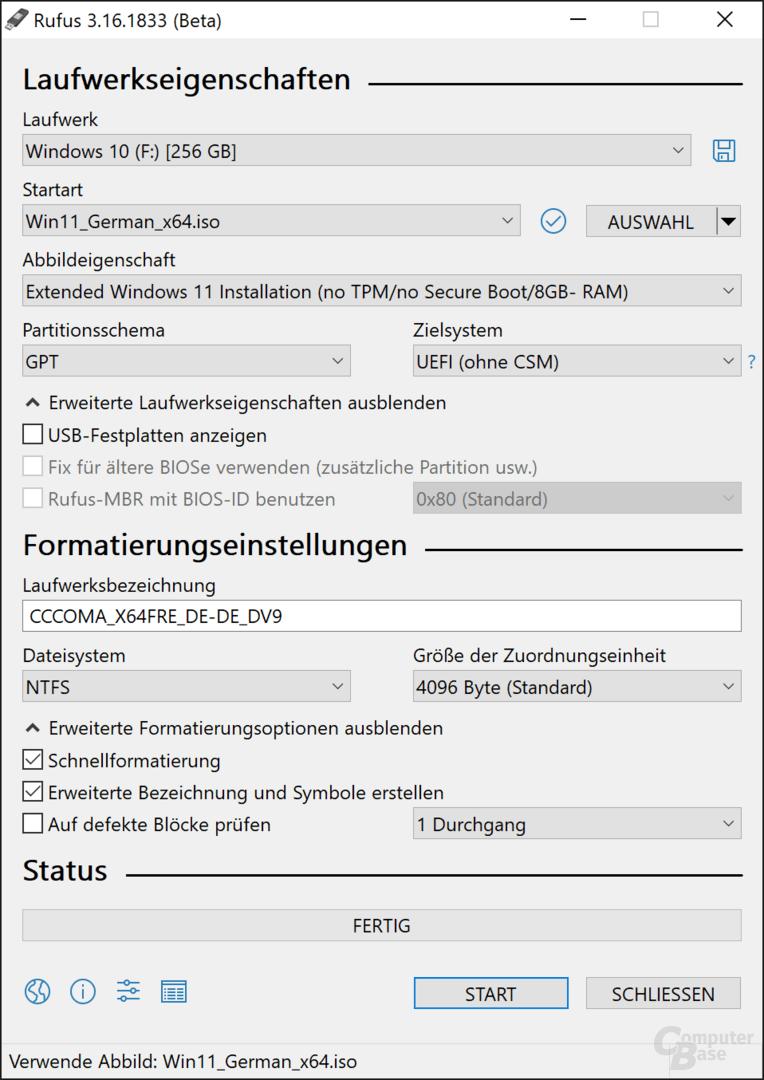 """Windows 11 als """"Extended""""-Installationsmedium"""