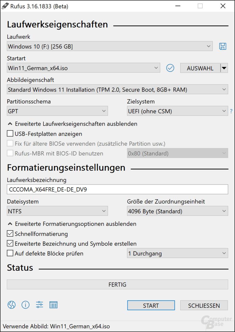 Windows 11 als reguläres Installationsmedium