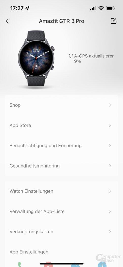Zepp-App mit der Amazfit GTR 3 Pro