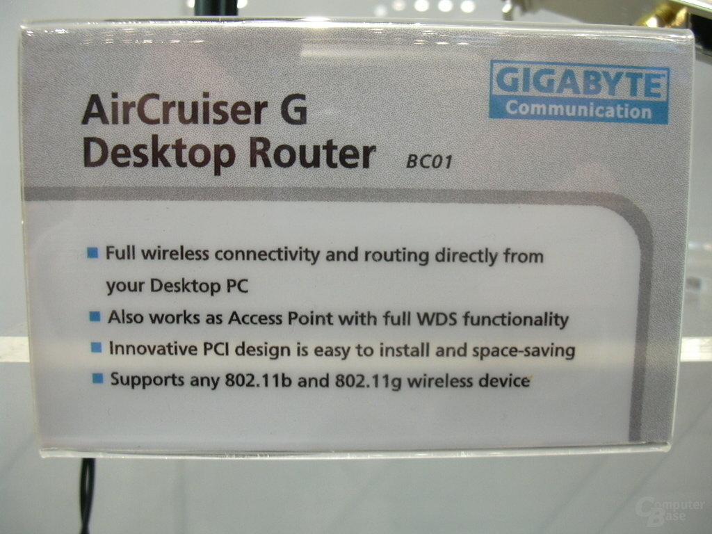 AirCruiser G Desktop Router - Features