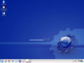 KDE-Desktop mit SVG-Hintergrund