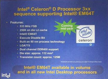 Intel Celeron D 3xx mit EM64T