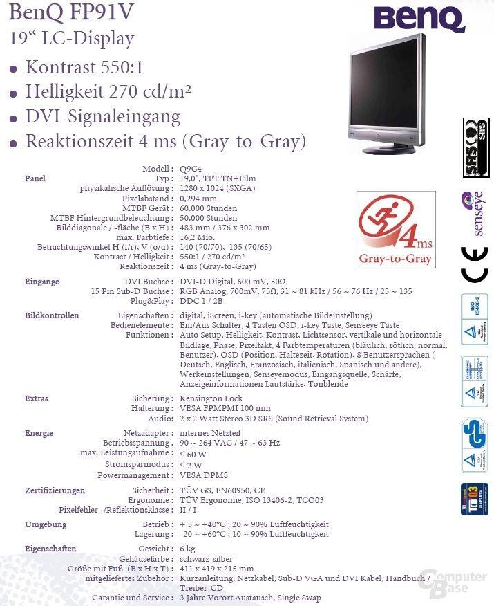 Datenblatt BenQ FP91V