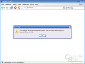 Firefox Fehlermeldung ohne GWA