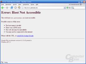 Firefox Fehlermeldung mit GWA