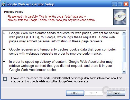 Google Web Accelerator Privacy Policy bei der Installation
