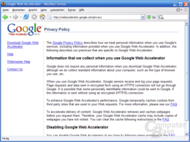 Google Web Accelerator Privacy Policy im Internet
