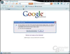 Netscape 8.0 Sicherheitswarnung bzgl. Internet Explorer