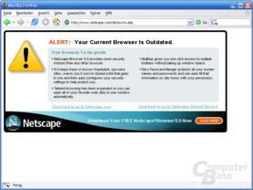 Dummdreiste Warnung beim Besuch des Netscape-Portals