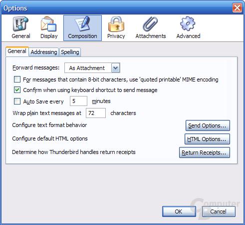 Thunderbird 1.1 Alpha 1 Einstellungen - Composition