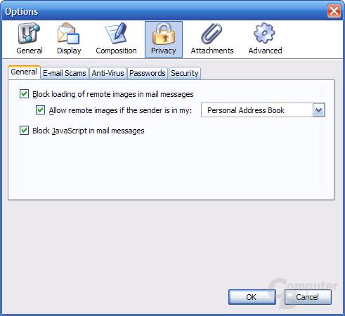 Thunderbird 1.1 Alpha 1 Einstellungen - Privacy 1