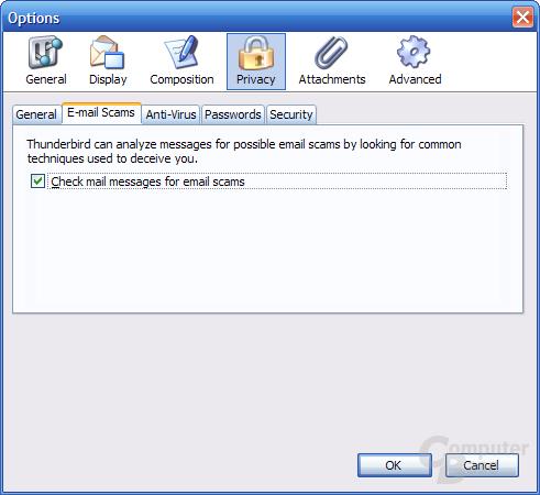 Thunderbird 1.1 Alpha 1 Einstellungen - Privacy 2