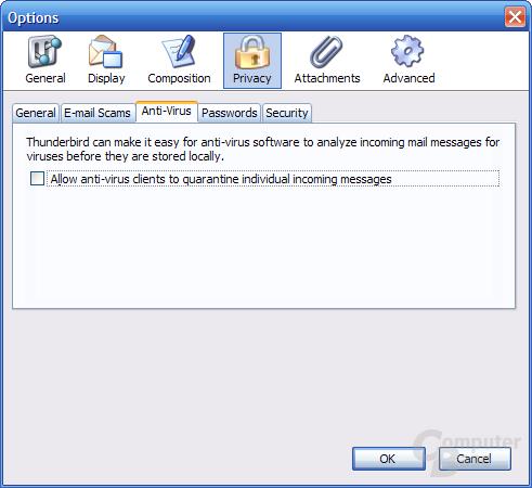 Thunderbird 1.1 Alpha 1 Einstellungen - Privacy 3