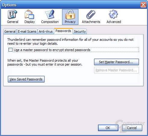 Thunderbird 1.1 Alpha 1 Einstellungen - Privacy 4