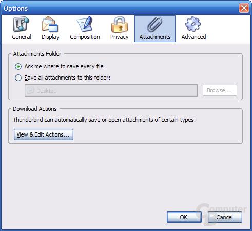 Thunderbird 1.1 Alpha 1 Einstellungen - Attachments