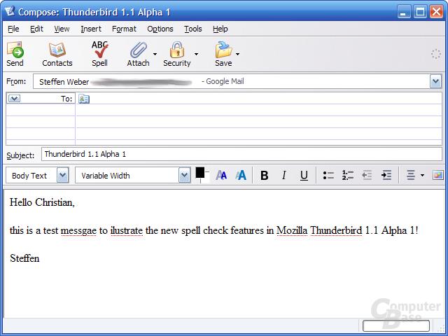 Thunderbird 1.1 Alpha - Rechtschreibprüfung