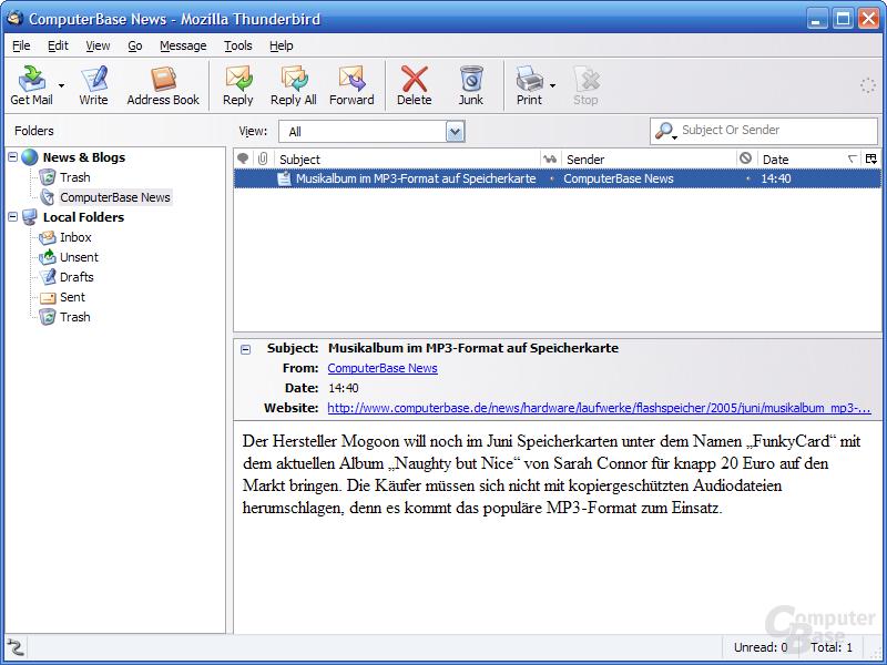 Thunderbird 1.1 Alpha 1 - RSS-Integration