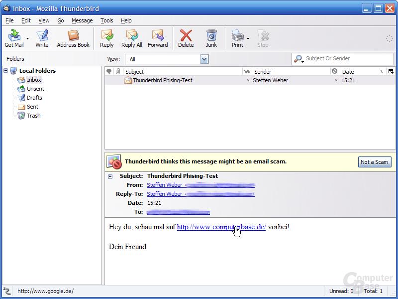 Thunderbird 1.1 Alpha 1 - Phishing-Warnung HTML-Links 1