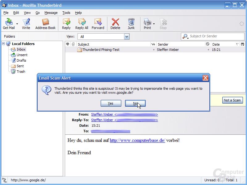 Thunderbird 1.1 Alpha 1 - Phishing-Warnung HTML-Links 2