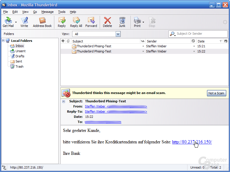 Thunderbird 1.1 Alpha 1 - Phishing-Warnung IP-Adressen 1