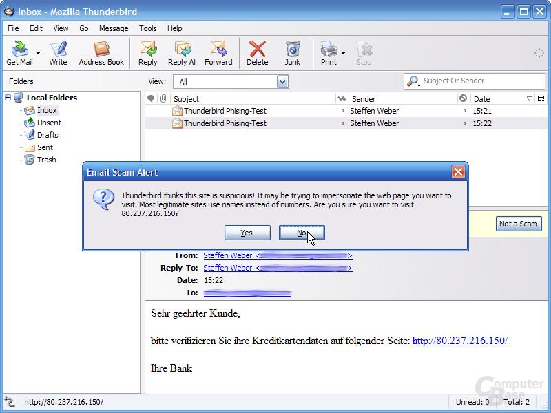 Thunderbird 1.1 Alpha 1 - Phishing-Warnung IP-Adressen 2