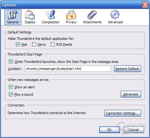 Thunderbird 1.1 Alpha 1 Einstellungen - General