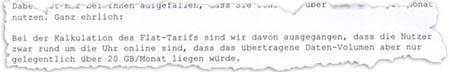 Auszug aus dem Brief von 1&1
