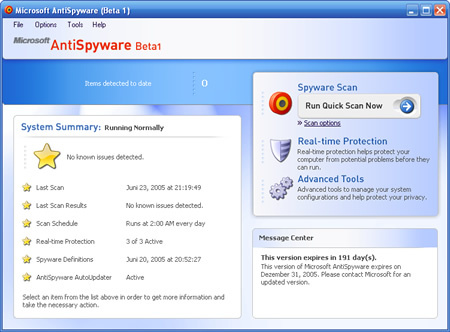 Microosft AntiSpyware Beta Build 613