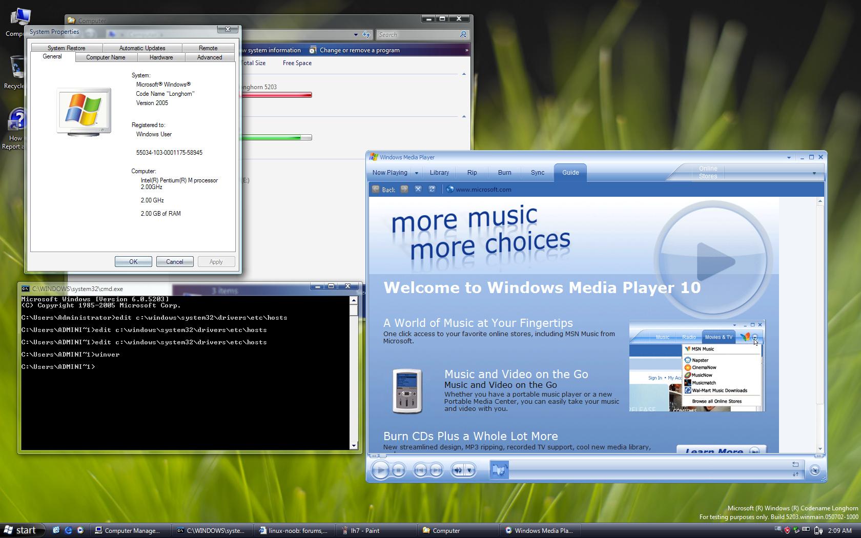 Longhorn Eingabeaufforderung & Windows Media Player
