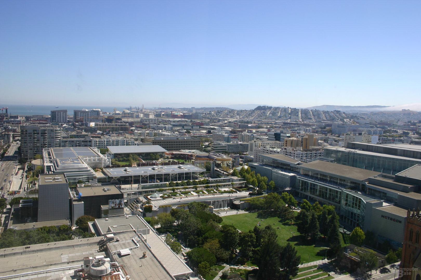 Sonniges San Francisco betrachtet aus dem 23ten Stock des Argent Hotels