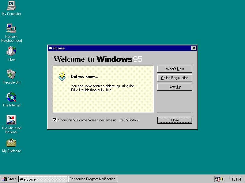 Windows 95 - Willkommensschirm
