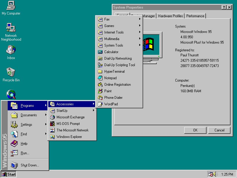 Windows 95 - Startmenü in Aktion