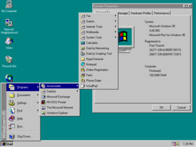 Windows 95 - Startmenü in Aktion