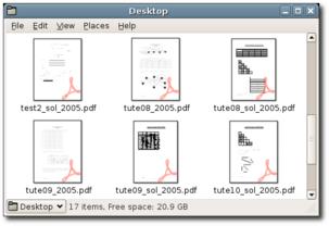 Nautiluszeigt Vorschauen von PDF-Dateien