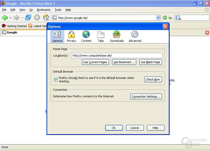 Firefox 1.5 Beta 1: Überarbeite Darstellung der Programm-Optionen
