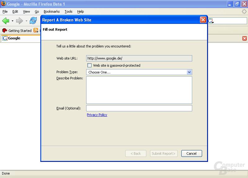 Firefox 1.5 Beta 1: Seiten mit Darstellungsfehlern melden