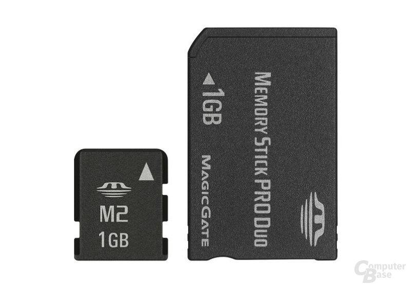 Größenvergleich Memory Stick Micro und PRO Duo