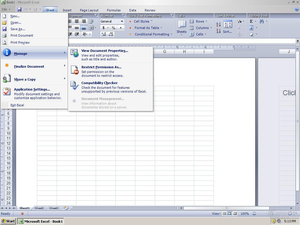 Windows Office Excel 12 Pre-Beta 1 - Quelle: Winsupersite.com