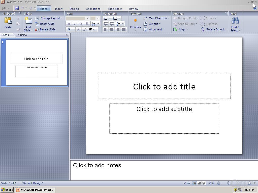 Windows Office PowerPoint 12 Pre-Beta 1 - Quelle: Winsupersite.com