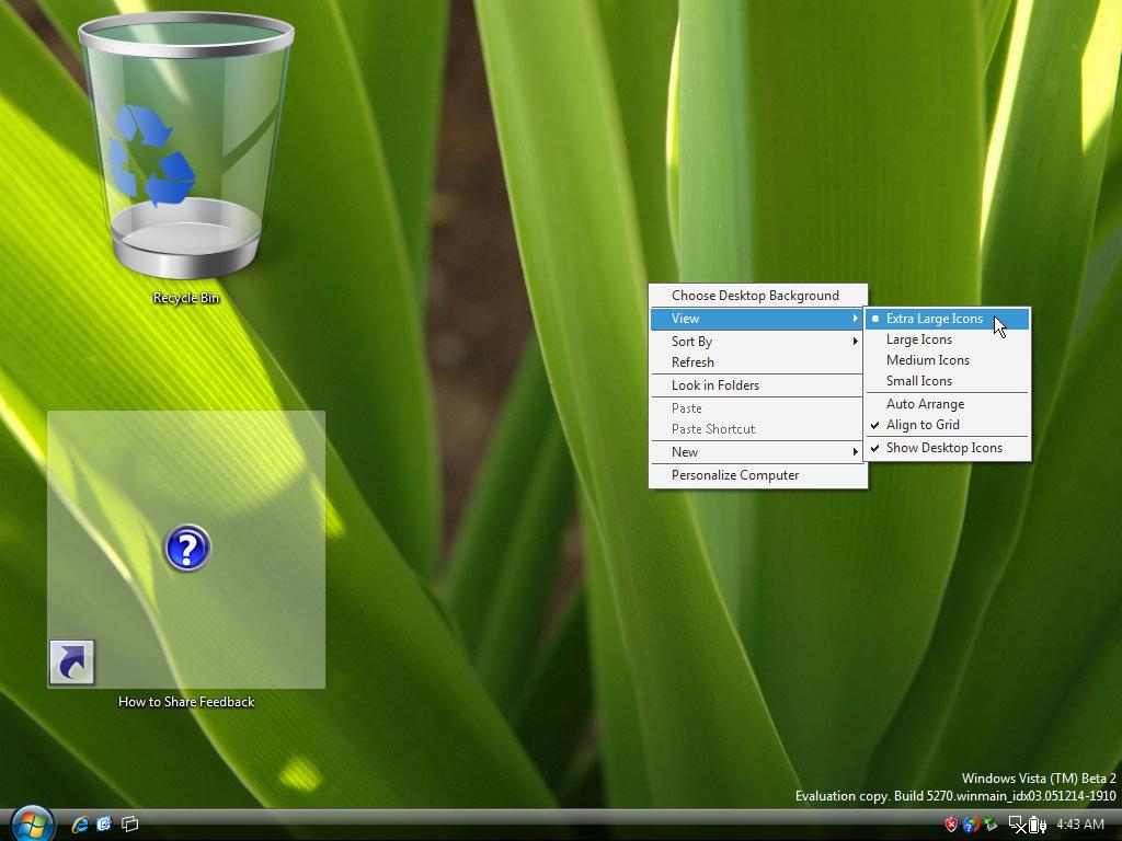 Windows Oberfläche: Icongrößen
