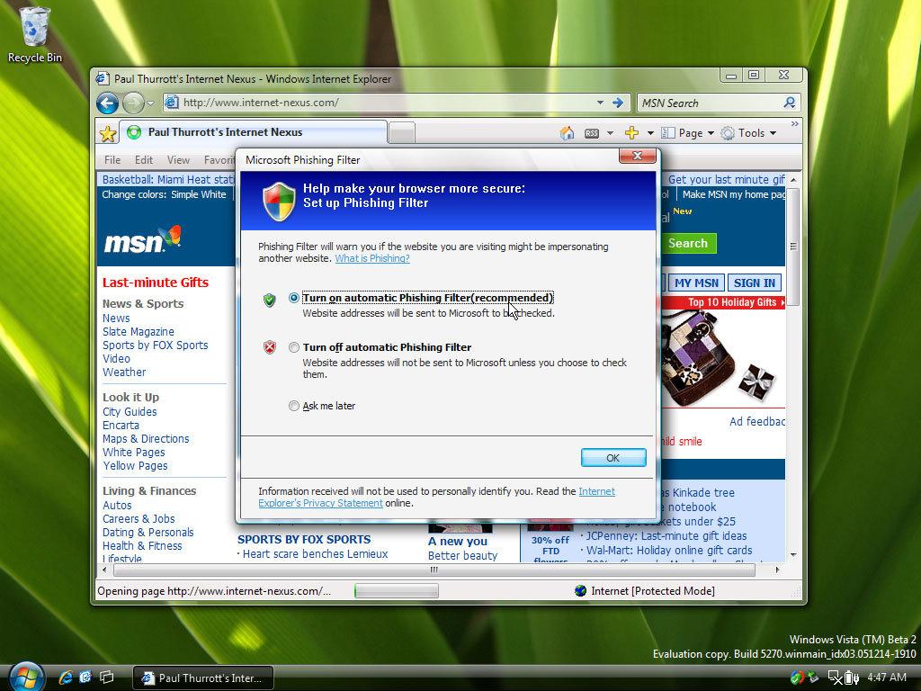 IE: Phishing Filter
