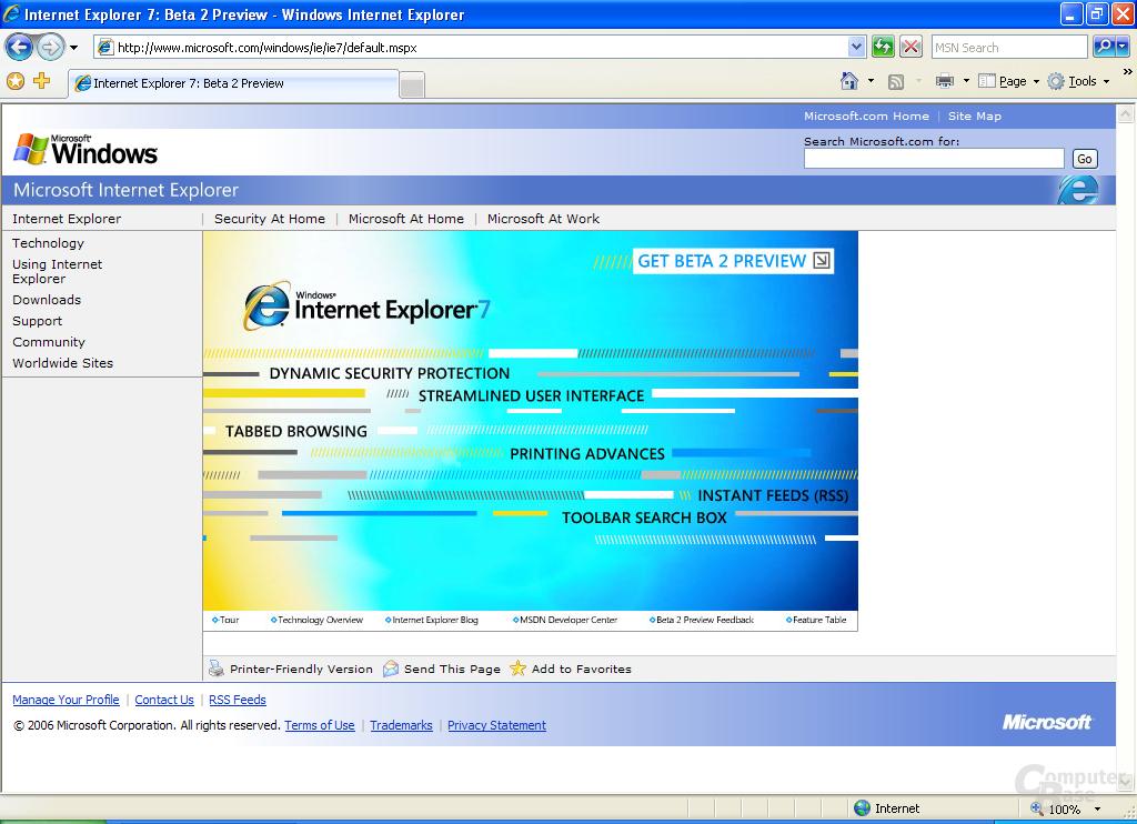 Internet Explorer 7 Beta 2 Preview