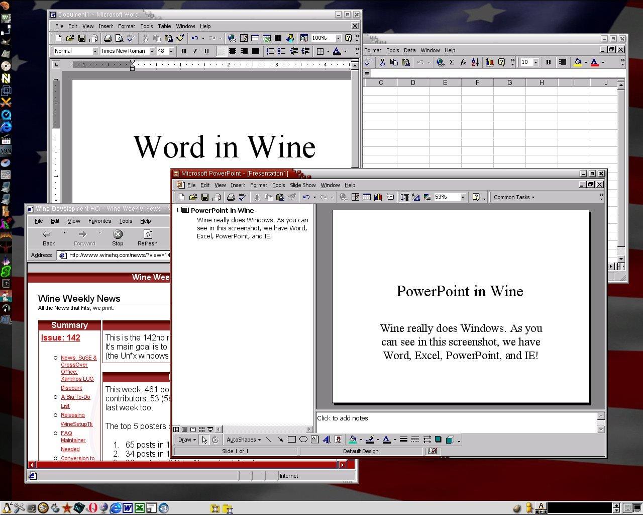 Wine - MS-Word und MS-PowerPoint