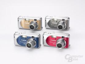 PowerShot A430 in vier verschiedenen Farben