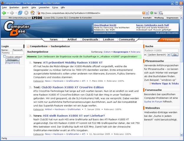 ComputerBase mit neuer Suchfunktion